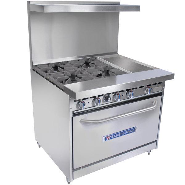 "Bakers Pride Restaurant Series 36-BP-4B-G12-S30 Natural Gas 4 Burner Range with Standard 30"" Oven and 12"" Griddle"