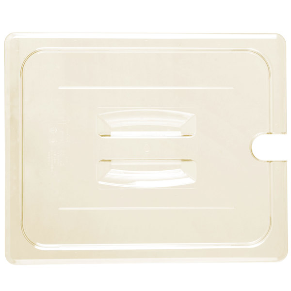 Cambro 20HPCHN150 H-Pan™ 1/2 Size Amber High Heat Handled Flat Lid with Spoon Notch