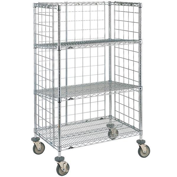 Wire Shelf Cart   Metro Super Erecta Ast35dc Chrome Wire Slanted Shelf Cart 24 X 36
