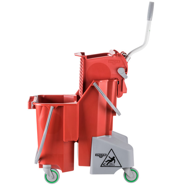 Unger COMBR 8 Gallon Red Mop Bucket with Side-Press Wringer Main Image 1