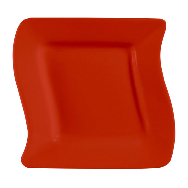 """CAC SOH-16R Color Soho 10 1/2"""" Red Square Stoneware Plate - 12/Case"""