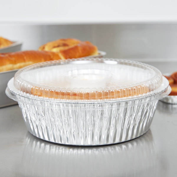 """10"""" Aluminum Foil Angel Food Pan with Clear Dome Lid - 10/Pack"""