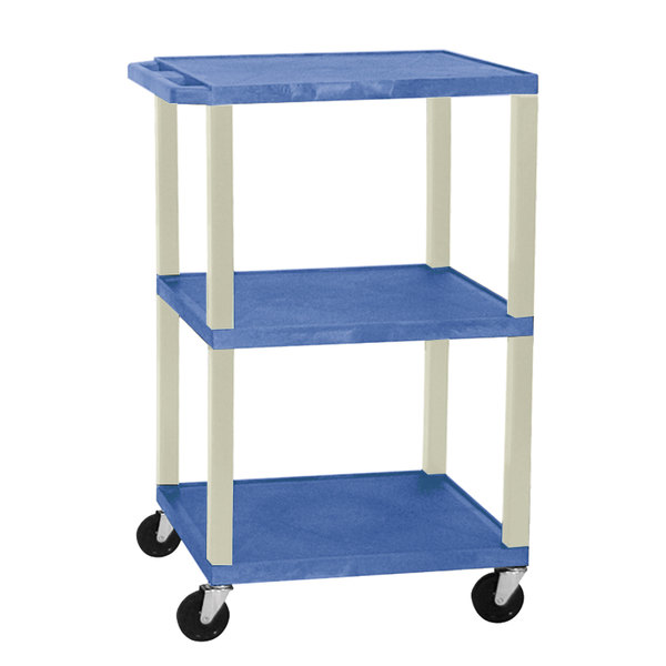 "Luxor WT1642E Blue Tuffy Open Shelf A/V Cart 18"" x 24"" with 3 Shelves - Adjustable Height"