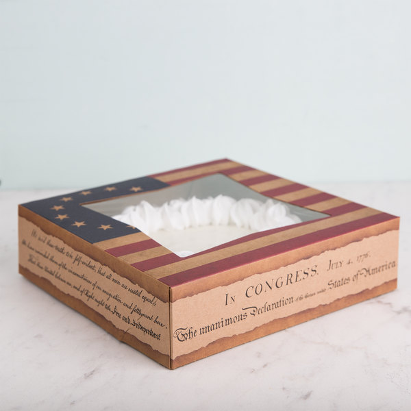 """Southern Champion 2482 9"""" x 9"""" x 2"""" Auto-Popup Window Cake / Bakery Box with Vintage American Flag / Declaration of Independence Design - 150/Bundle"""