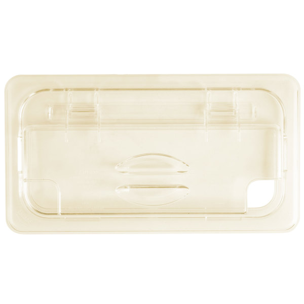 Cambro 30HPLN150 H-Pan™ 1/3 Size Amber High Heat FlipLid with Spoon Notch
