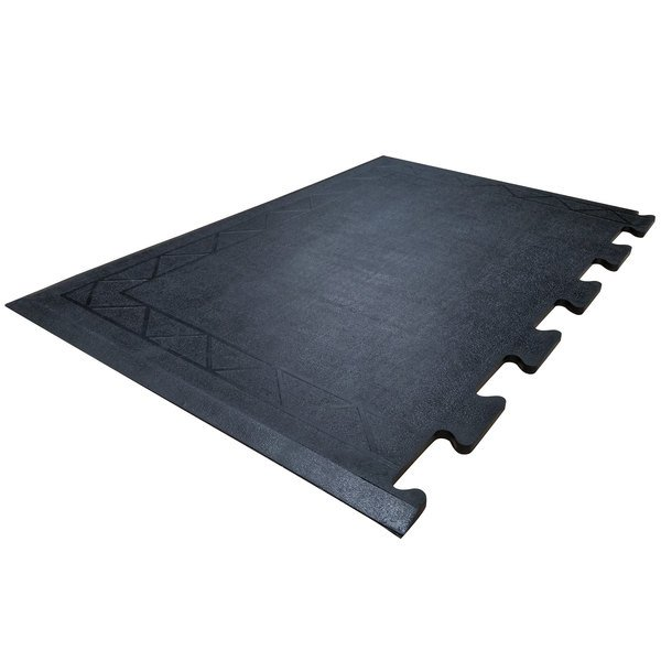 "Cactus Mat 2500-RE36 Comfort Zone 2' x 3' Black Interlocking Center Anti-Fatigue Mat - 1/2"" Thick Main Image 1"