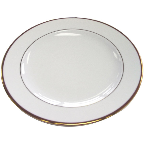 """CAC GRY-16 Golden Royal 10 1/2"""" Bright White Round Porcelain Plate - 12/Case Main Image 1"""