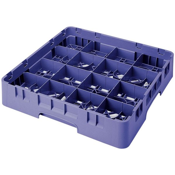 "Cambro 16S800186 Camrack 8 1/2"" High Customizable Navy Blue 16 Compartment Glass Rack Main Image 1"