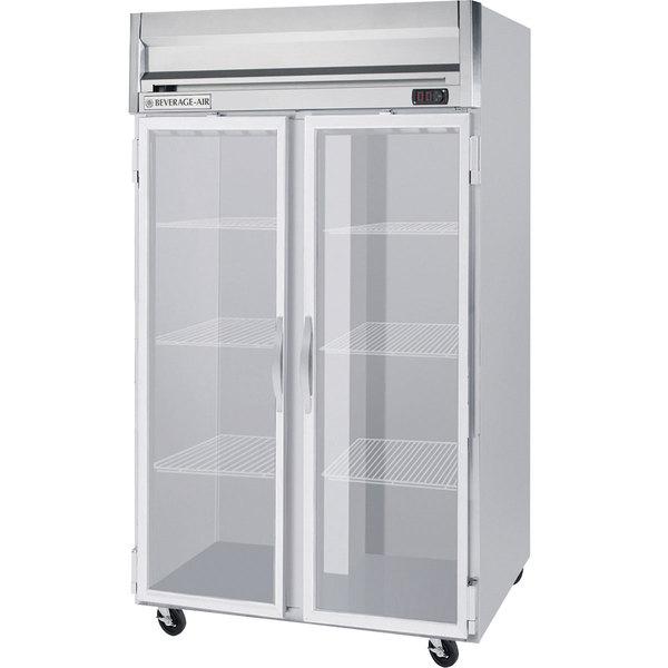 "Beverage-Air HR2-1G-LED Horizon Series 52"" Top Mounted Glass Door Reach-In Refrigerator"