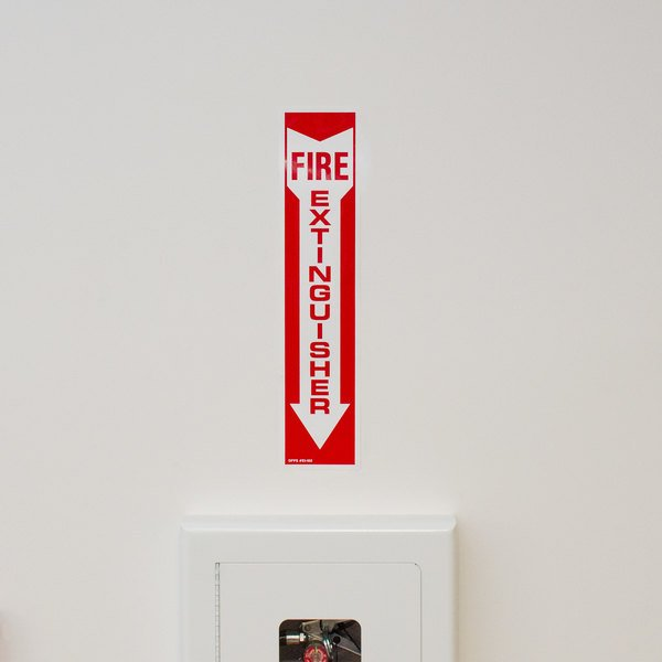 """Buckeye Fire Extinguisher Adhesive Label - Red and White, 18"""" x 4"""""""
