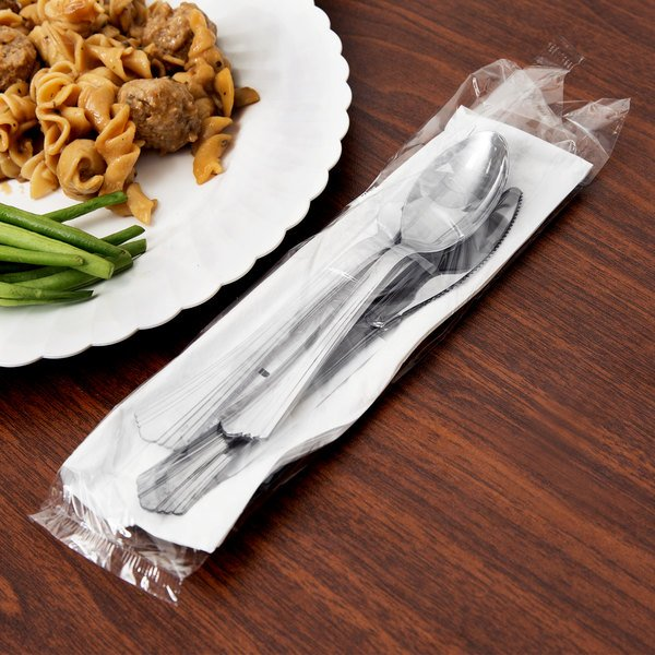 WNA Comet REFKIT3 Reflections Wrapped Stainless Steel Look Heavy Weight Plastic Fork, Knife, Spoon, Salt, and Pepper with 2-Ply Napkin - 100/Case