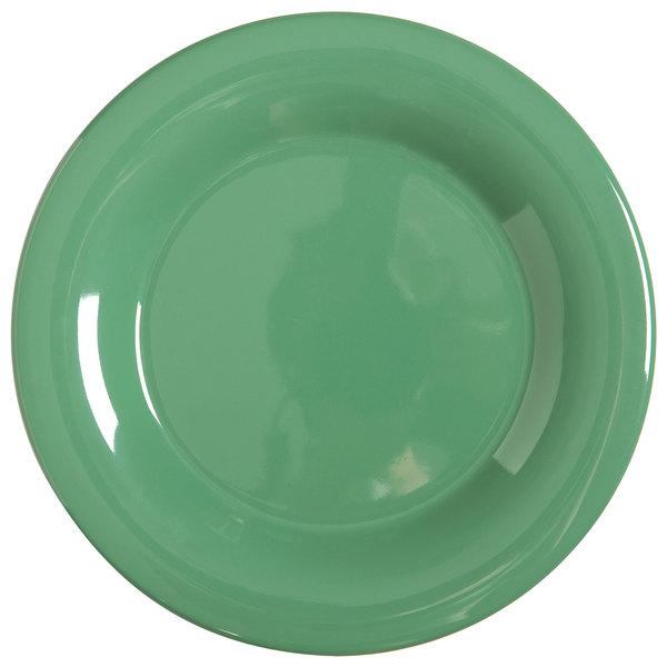 """GET WP-6-FG Diamond Mardi Gras 6 1/2"""" Rainforest Green Wide Rim Round Melamine Plate - 48/Case"""