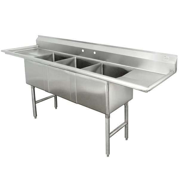 Advance Tabco FC-3-1818-24RL Three Compartment Stainless Steel Commercial Sink with Two Drainboards - 102""