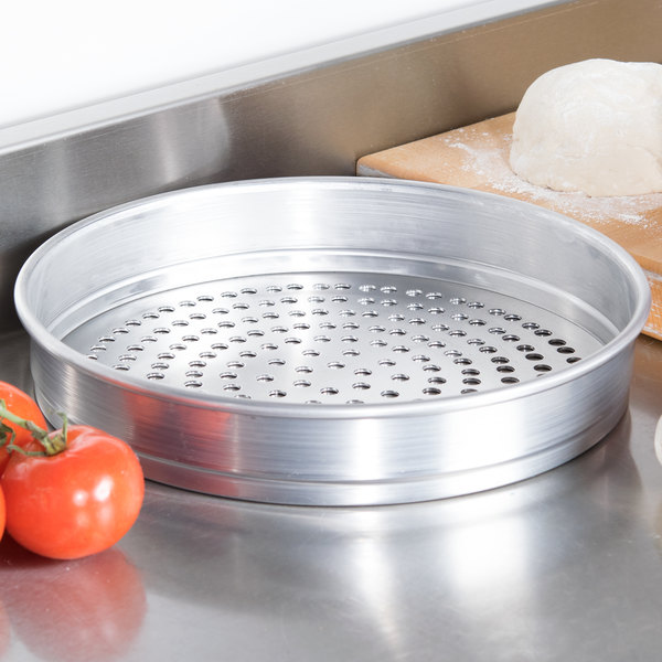 """American Metalcraft SPHA5012 12"""" x 2"""" Super Perforated Heavy Weight Aluminum Straight Sided Pizza Pan"""