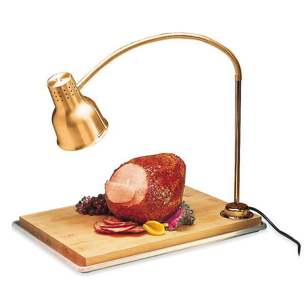 "Carlisle HL8185GB21 FlexiGlow 24"" Single Arm Aluminum Heat Lamp with Gold Finish, Maple Cutting Board, and Drip Pan - 120V Main Image 1"