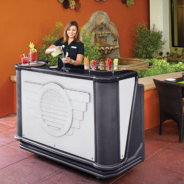 """Cambro BAR730DSCP667 Manhattan Designer Series Cambar 78"""" Portable Bar with 7-Bottle Speed Rail and Cold Plate"""
