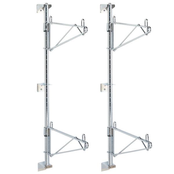 "Metro SW33C Super Erecta Chrome Double Level Post-Type Wall Mount End Unit for 18"" Deep Shelf - 2/Pack"