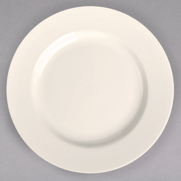 "Homer Laughlin 44400 10 5/8"" Ivory (American White) Rolled Edge China Plate - 12/Case"
