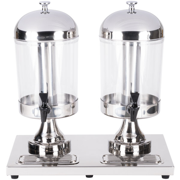 8.5 Qt. Clear Beverage Dispenser Double Stand Stainless Steel