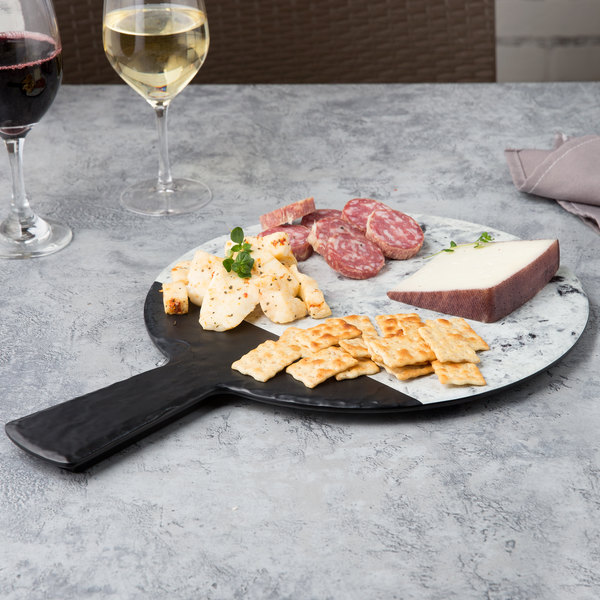 """Elite Global Solutions M12RWSM Horizon Slate 12"""" Faux Slate and Marble Round Serving Board with Handle Main Image 4"""