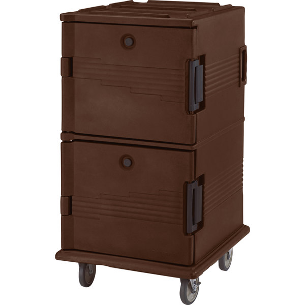 Cambro UPC1600SP131 Ultra Camcarts® Dark Brown Insulated Food Pan Carrier with Heavy-Duty Casters and Security Package - Holds 24 Pans Main Image 1