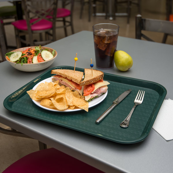 """Carlisle CT141808 Customizable Cafe 14"""" x 18"""" Forest Green Standard Plastic Fast Food Tray - 12/Case"""