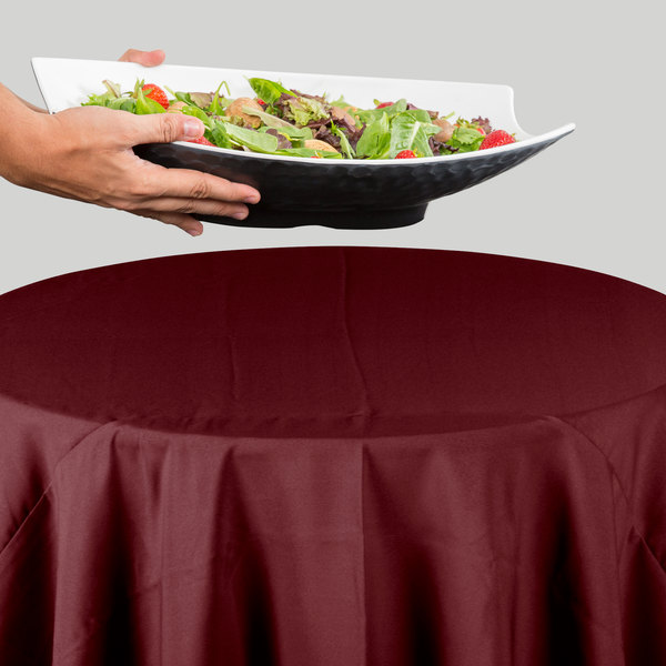"""120"""" Round Burgundy 100% Polyester Hemmed Cloth Table Cover"""