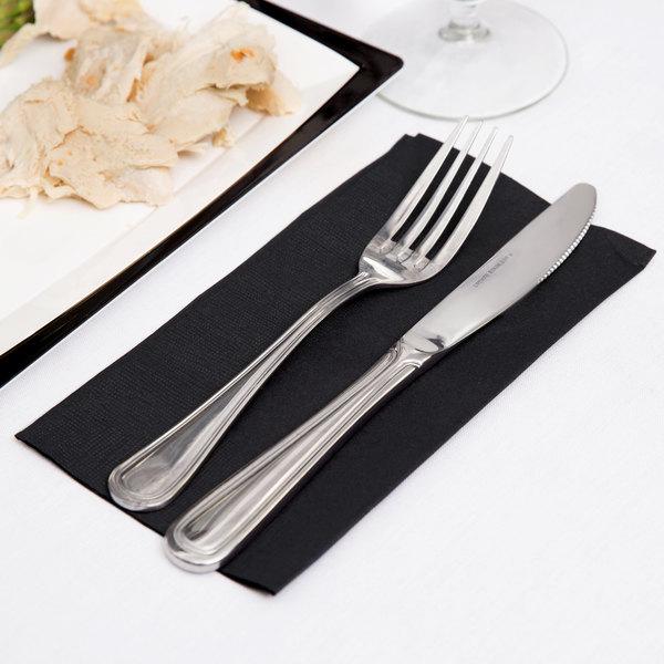 "Black Paper Dinner Napkin, Choice 2-Ply Customizable, 15"" x 17"" - 1000/Case"