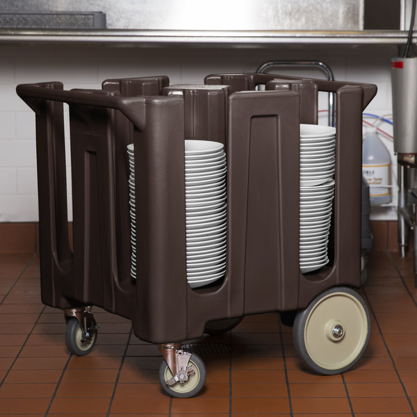 Cambro DC1225131 Poker Chip Dark Brown Dish Dolly / Caddy with Vinyl Cover - 4 Column Main Image 3