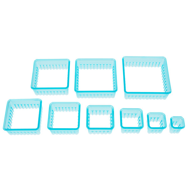 Ateco 5703 9-Piece Plastic Fluted Square Cutter Set