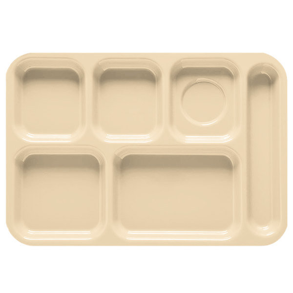"GET TR-152 10"" x 14 1/2"" Tan ABS Plastic Right Hand 6 Compartment Tray - 12/Pack"