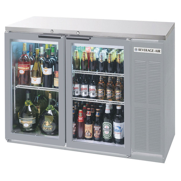 "Beverage Air BB48GY-1-S-27-LED 48"" Stainless Steel Back Bar Refrigerator with 2 Glass Doors and Stainless Steel Top- 115V"