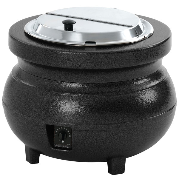 Vollrath 72170 Colonial 7 Qt. Black Kettle Soup Warmer / Merchandiser - 120V