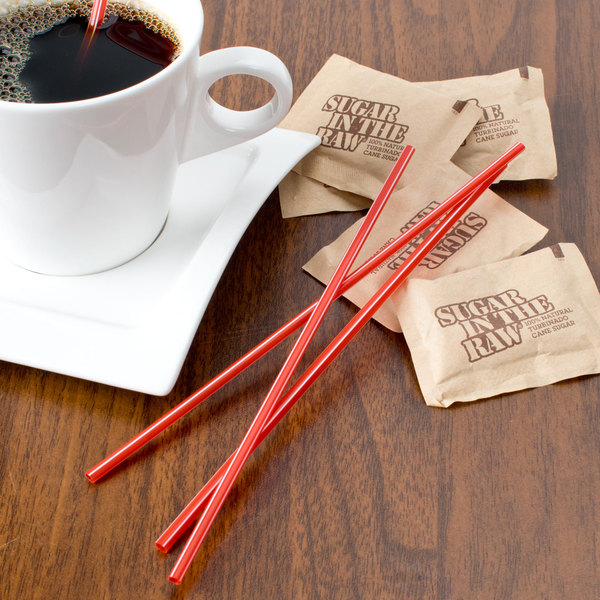 "Choice 7 1/2"" Red and White Unwrapped Coffee Stirrer - 10000/Case Main Image 2"