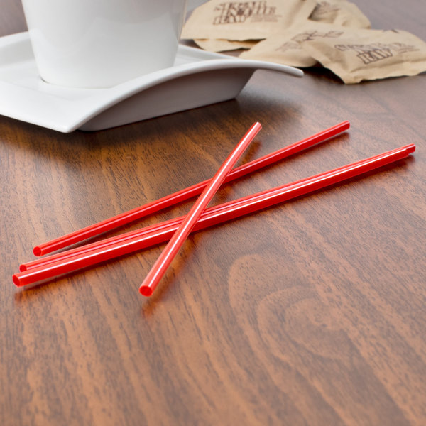 """Choice 7 1/2"""" Red and White Unwrapped Coffee Stirrer - 10000/Case"""