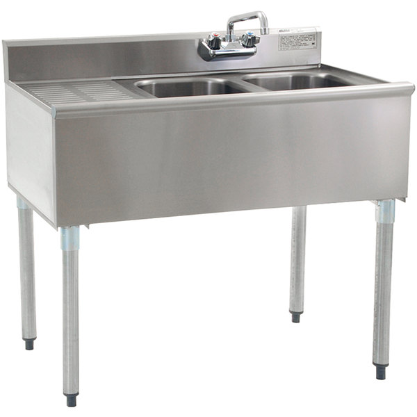 Eagle Group B3L-2-18 Compartment Underbar Sink with Left Drainboard and Splash Mount Faucet - 36""