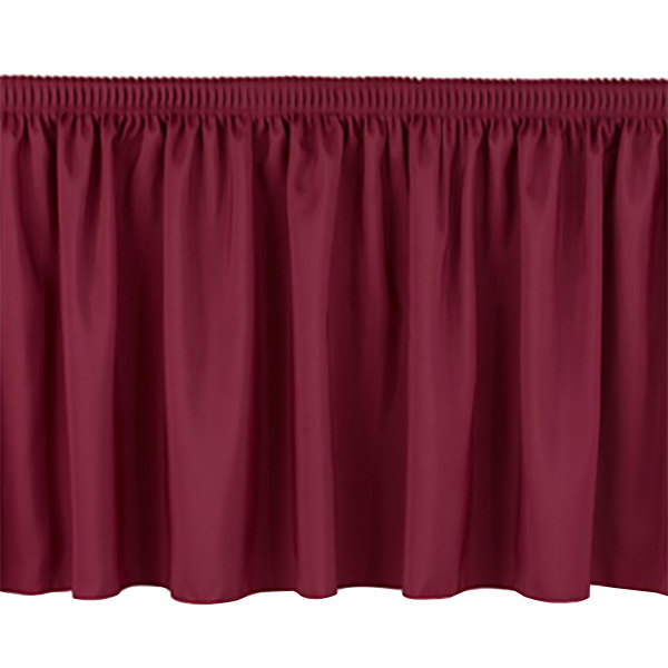 "National Public Seating SS24 Burgundy Shirred Stage Skirt for 24"" Stage"