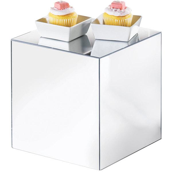 """Cal-Mil MC708 8"""" Acrylic Mirror Cube Riser Main Image 1"""