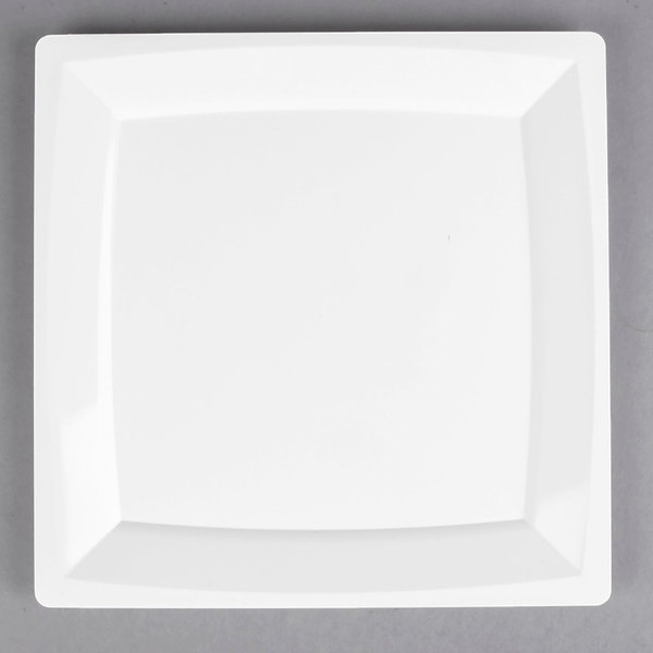 WNA Comet MS10W 9 1/4 inch White Square Milan Plastic Plate - 12/Pack