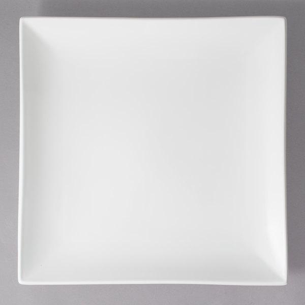 "10 Strawberry Street WTR-16CPSQ Whittier 15 1/2"" White Square Porcelain Coupe Platter - 4/Case"