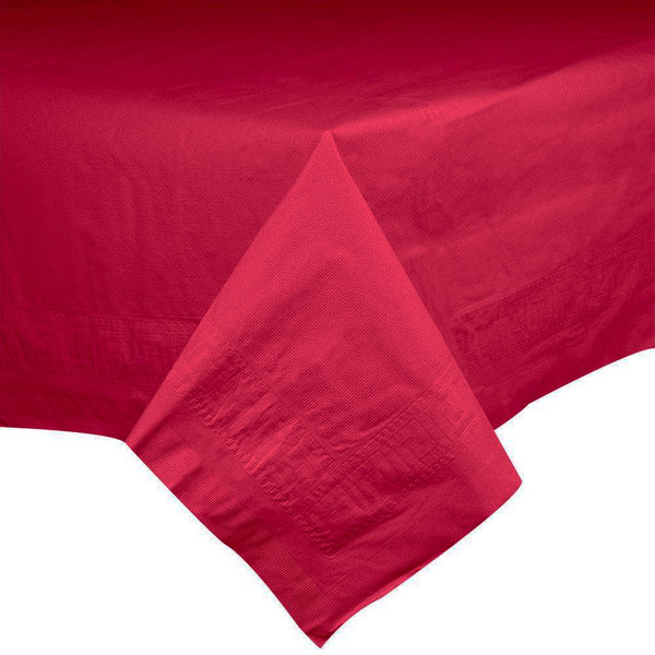 """Hoffmaster 220411 54"""" x 54"""" Cellutex Red Tissue / Poly Paper Table Cover - 50/Case"""