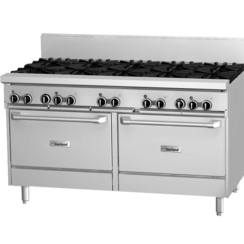 "Garland GFE60-10RR Liquid Propane 10 Burner 60"" Range with Flame Failure Protection, Electric Spark Ignition, and 2 Standard Ovens - 120V, 336,000 BTU"