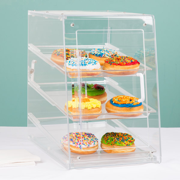 """Cal-Mil 963-S Classic U-Build Three Tier Acrylic Display Case with Front and Rear Doors - 11 1/2"""" x 17"""" x 17"""""""