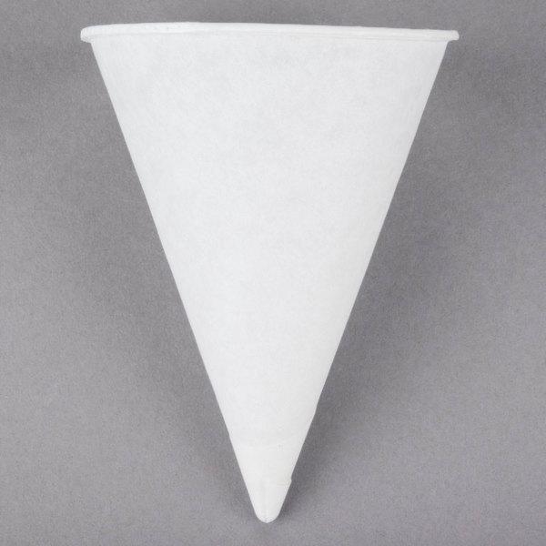 Genpak Harvest W4F 4 oz. White Rolled Rim Paper Cone Cup - 5000/Case
