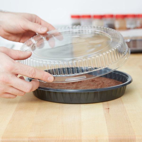 """Genpak 95C10 Bake 'N Show Clear Dome Lid for 55R10 and 55C10 Dual Ovenable 10"""" Round Shallow Pizza / Cookie Pan - 200/Case"""