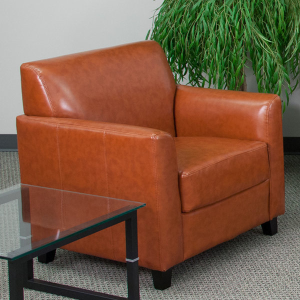 Flash Furniture BT-827-1-CG-GG Hercules Diplomat Cognac Leather Chair with Wooden Feet Main Image 5