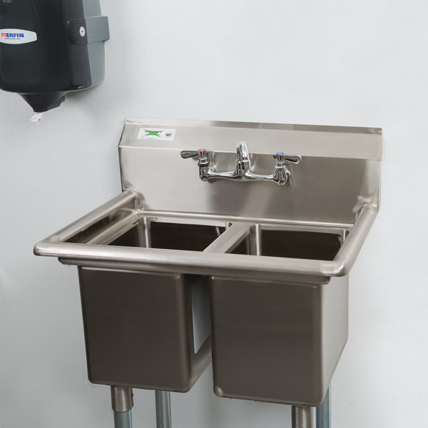 """Regency 27"""" 16-Gauge Stainless Steel Two Compartment Commercial Sink without Drainboard - 10"""" x 14"""" x 12"""" Bowls Scratch and Dent"""