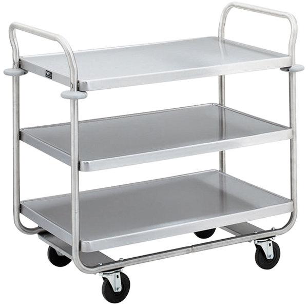 """Vollrath 97168 Caravelle Chrome 3 Shelf Tubular Cart - 37 1/2"""" x 21"""" x 35 1/2"""""""