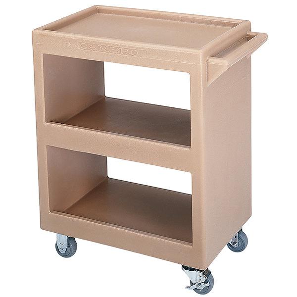 "Cambro BC225157 Coffee Beige Three Shelf Service Cart - 28"" x 16"" x 32 1/4"""