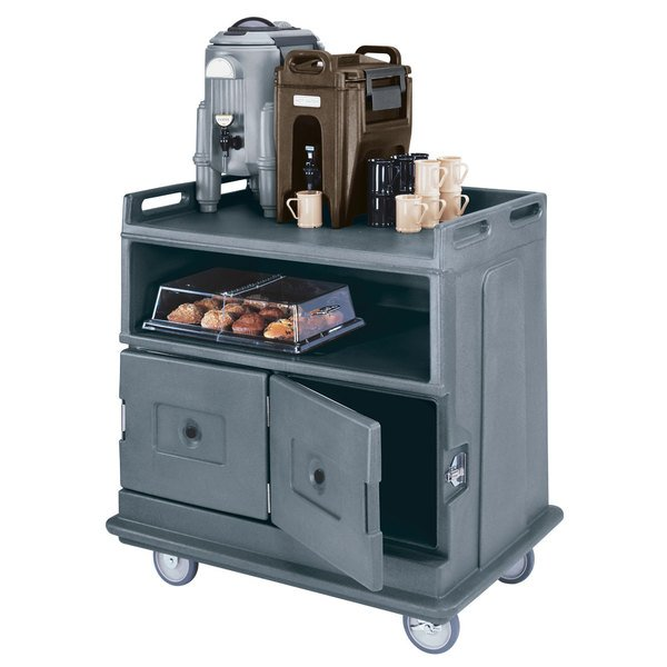 "Cambro MDC24191 Granite Gray Beverage Service Cart with 2 Doors - 44 1/2"" x 30"" x 44"" Main Image 2"